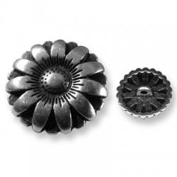 Μεταλλικό Ζάμακ Χυτό Στοιχείο Κουμπί με Λουλούδι 17mm