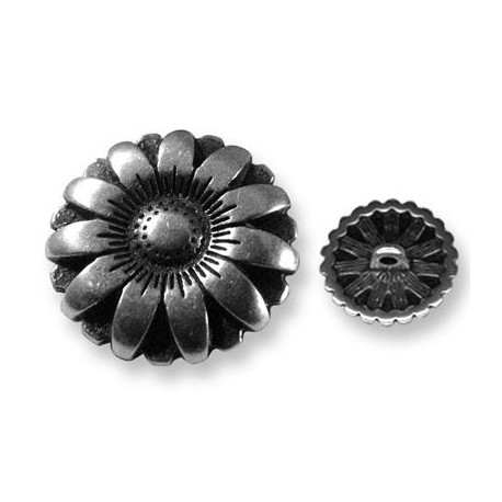 Bouton Fleur en Métal/Zamac, 17mm