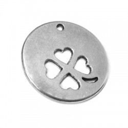Zamak Round Pendant with Four Leaf Clover 38mm