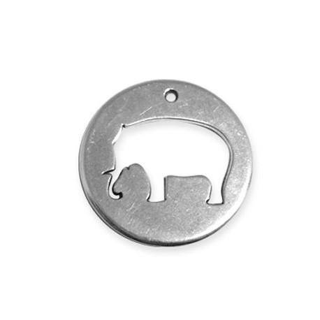 Pendentif Rond Éléphant en Métal/Zamac, 39mm