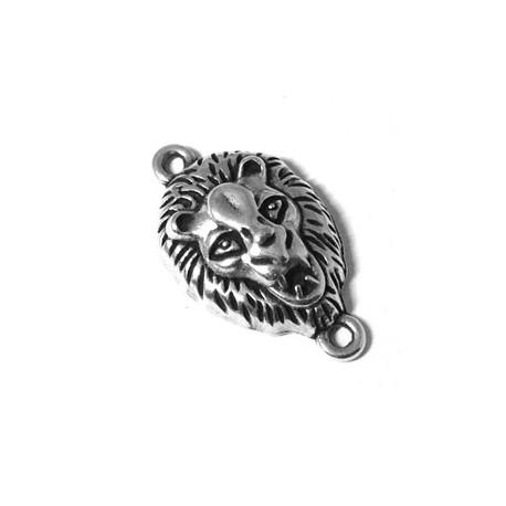 Intercalaire Tête de Lion en Métal/Zamac, 25x15mm