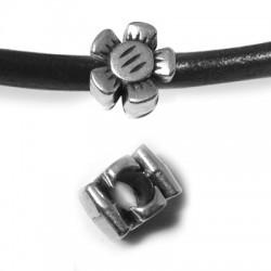 Passant Fleur en Métal/Zamac, 12x8mm (Ø 5mm)