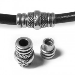Fermoir Aimanté Tube avec Motifs en Métal/Zamac, 25x10mm (Ø 5.2mm)