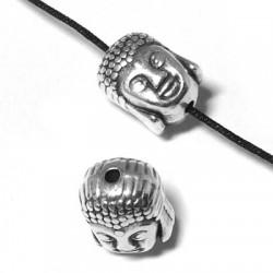 Passant Tête de Bouddha en Métal/Zamac, 10x8mm (Ø 1.5mm)