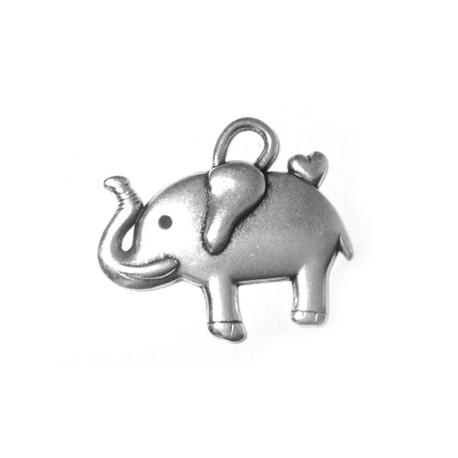 Breloque Éléphant en Métal/Zamac, 30x25mm