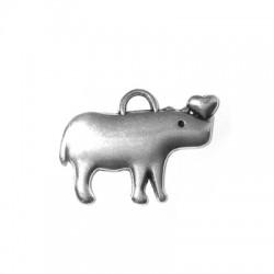 Breloque Hippopotame en Métal/Zamac, 23x21mm
