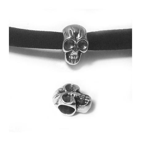 Passant Tête de mort en Métal/Zamac, 9x12mm (Ø 5.2mm)