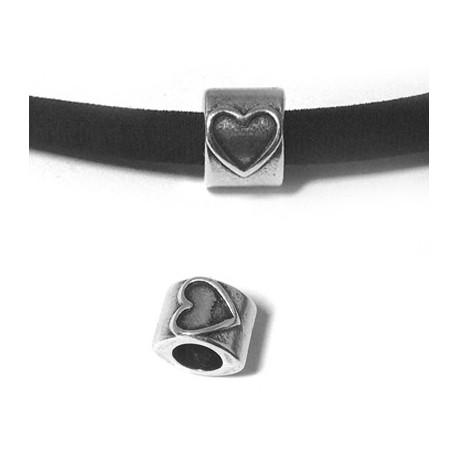 Passant Cœur en Métal/Zamac, 10x8mm (Ø 5.2mm)