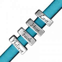 Quatre Passants Rectangulaires Melangés en Métal/Zamac, 16x6mm (Ø 10.2x2.2mm)