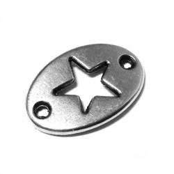Intercalaire Ovale Étoile en Métal/Zamac, 20x13mm
