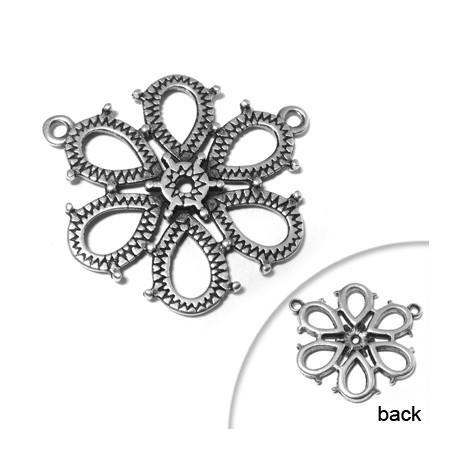 Zamak Pendant Flower with 2 Loops 35mm