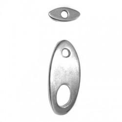 Fermoir T Ovale en Métal/Zamac, 26x12mm