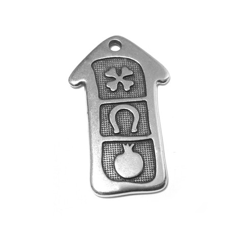 Zamak Pendant Home with Lucky Symbols 31x50mm
