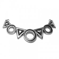 Zamak Connector Collar Necklace Triangles & Circles 76x17mm