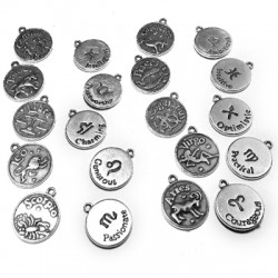 Breloques Signes du Zodiaque en Métal/Zamac, 17mm (12 Mélangés)