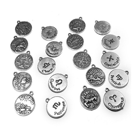Zamak Charms Zodiac Coins Mixed 17mm