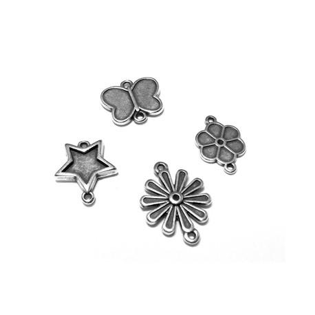 Μετ. Ζάμακ Λουλούδι 13x18mm/Αστέρι 16x18mm/Πεταλούδα 17x15mm