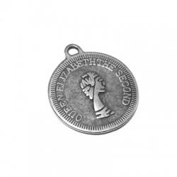 Zamak Charm Coin Queen Elizabeth19mm