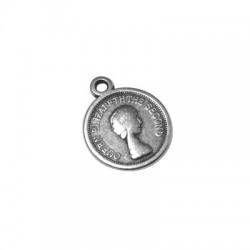 Zamak Charm Coin Queen Elizabeth 13mm
