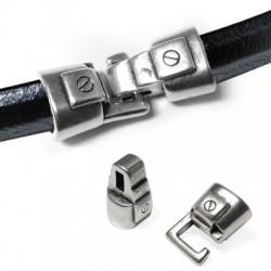 Fermoir Crochet en Métal/Zamac pour Cuir Regaliz, 33x13mm (Ø 10x7mm)