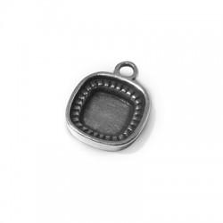 Breloque Support Carré en Métal/Zamac, 11mm (Diam. Intérieur 10mm)