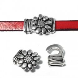Fermoir Crochet Fleur en Métal/Zamac, 18x19mm (Ø 10x2mm)