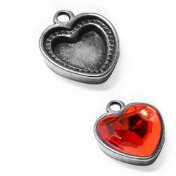 Μεταλλικό Ζάμακ Χυτό Μοτίφ Βάση Καρδιά 14mm (Εσωτερικό 12mm)