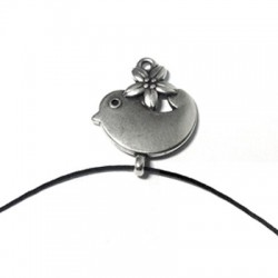 Zamak Charm Bird & Flower 17x22mm
