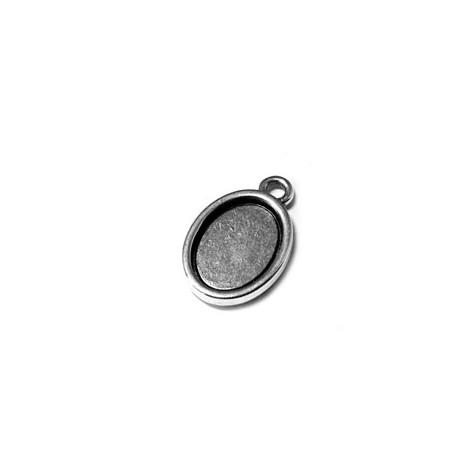 Breloque Cadre Ovale en Métal/Zamac, 13x17mm (diam. int. 10x14mm)