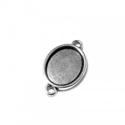 Intercalaire Cadre Ovale en Métal/Zamac, 16x20mm (diam. int. 13x18mm)