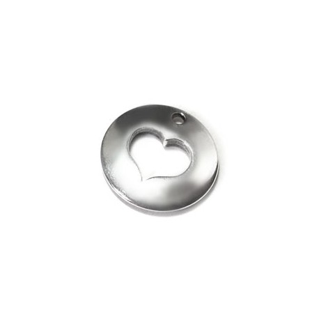 Breloque Ronde avec Cœur en Métal/Zamac, 16mm