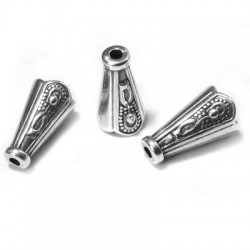 Embout Cônique en métal/zamac avec Motifs 7x13mm (Ø 5mm)