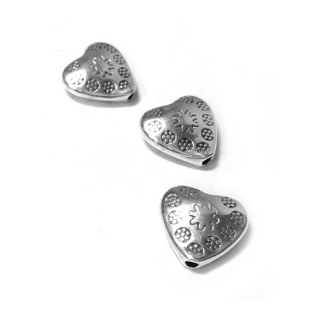 Passant Cœur en Métal/Zamac, 10,8x10,5mm (Ø 1,5mm)