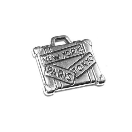 Breloque Valise en métal/zamac 15.5x11.5mm