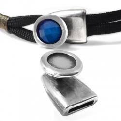 Fermoir en métal/zamac une pièce 21x15mm avec support 10mm (Ø 10.2x2.1mm)