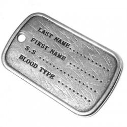 Zamak Pendant Military Tag 42x27mm
