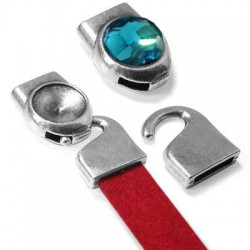 Fermoir Crochet 32x15mm en métal/zamac avec support pour Sw. Rivoli 12mm  (Ø 10.2x2mm)