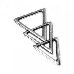 Pendentif 3 Triangles Unis en Métal/Zamac, 26x45mm