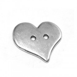 Cœur bouton en Métal/Zamak, 20x17mm (Ø 1,8mm)