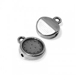 Charm in Zama Rotondo 10mm con Foro Passante 4.6mm e Base per Cristallo Flat Back 8mm