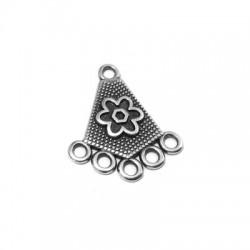 Μεταλλικό Ζάμακ Χυτό Στοιχείο Τρίγωνο με Σχέδιο Λουλούδι 5 Κρικάκια 20x20mm