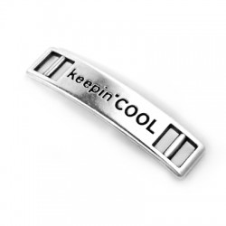 "Connettore in Zama Targhetta con Scritta ""Keeping Cool"" 36x8mm (Ø 5x1.9mm)"