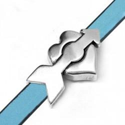 Fermoir Aimanté Cœur avec Flèche en Métal/Zamak 34x20mm (Ø 10,2x2mm)