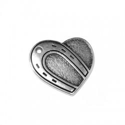 Μεταλλικό Ζάμακ Χυτό Μοτίφ Καρδιά Πέταλο 25x30mm (Ø2.3mm)