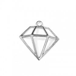 Pendentif Diamant en Métal Zamak 26x21mm