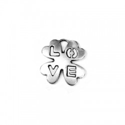Μεταλλικό Ζάμακ Χυτό Μοτίφ Τετράφυλλο Τριφύλλι ''Love'' 16mm