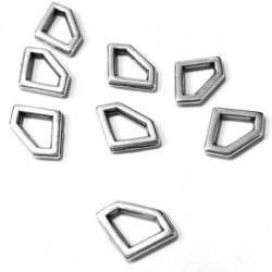 Zamak Charm Diamond Frame Hollow 12x8mm
