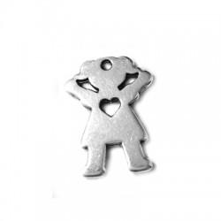 Pendentif Fille avec Cœur en Métal/Zamak 19x25 (Ø 1,9mm)