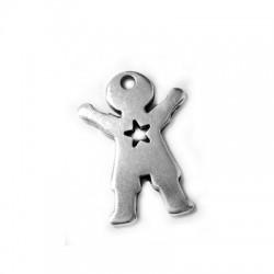 Pendentif Garçon avec Cœur en Métal/Zamak 19x25 (Ø 1,9mm)