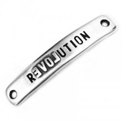 """Barre Bracelet en Métal/Zamak inscr. """"REVOLUTION"""" 40x7mm (trous 1,8mm)"""